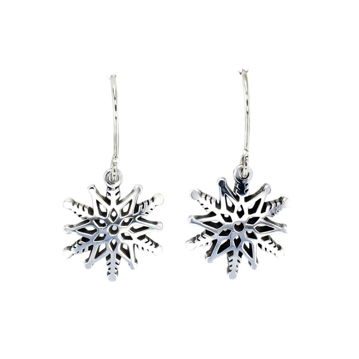 sterling silver snowflake drop earrings with shepherd hooks, designer handmade by Faller, Derry/ Londonderry, Irish hand crafted