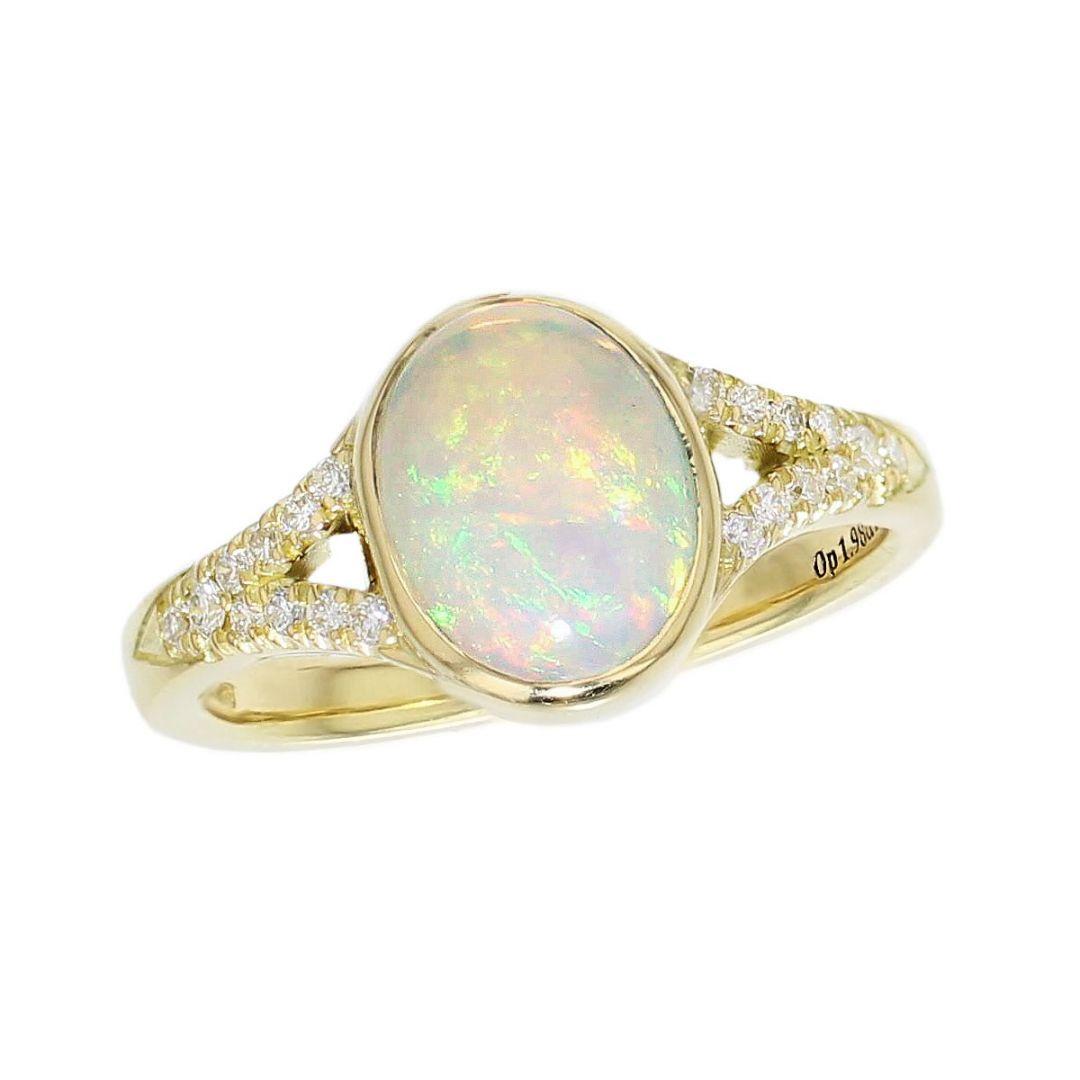 18ct yellow gold oval cut cabochon opal gemstone & diamond multistone dress ring, designer jewellery, gem, jewelry, handmade by Faller, Londonderry, Northern Ireland, Irish hand crafted, shoulder set
