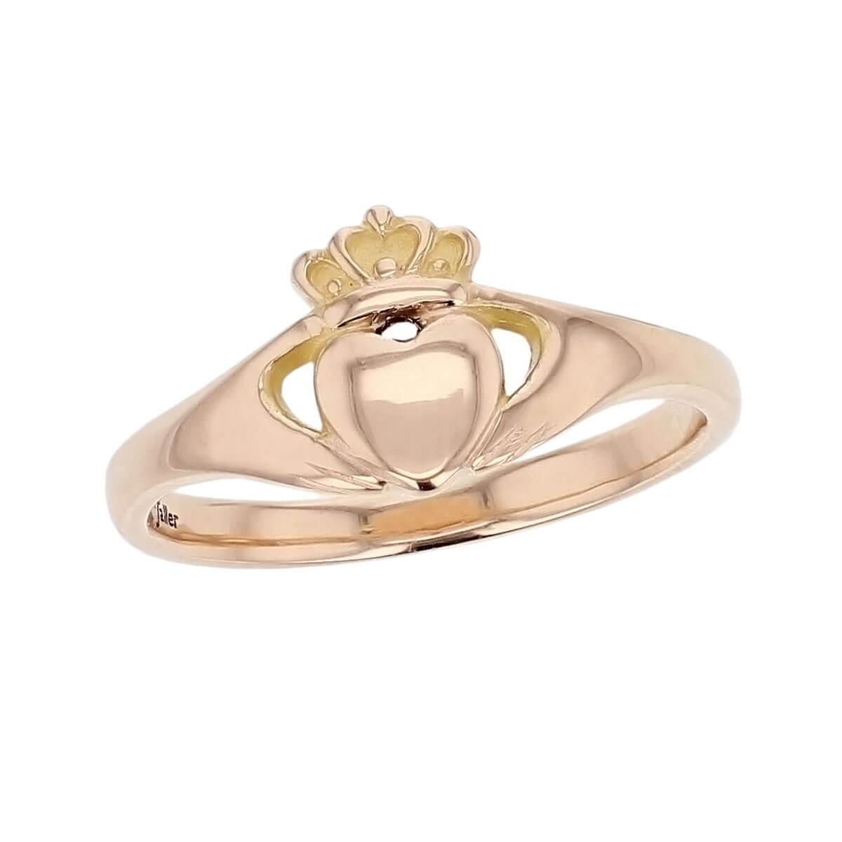 Faller Claddagh, 18ct rose gold, Irish, love, loyalty & friendship, hands, heart & crown, dress ring, ladies