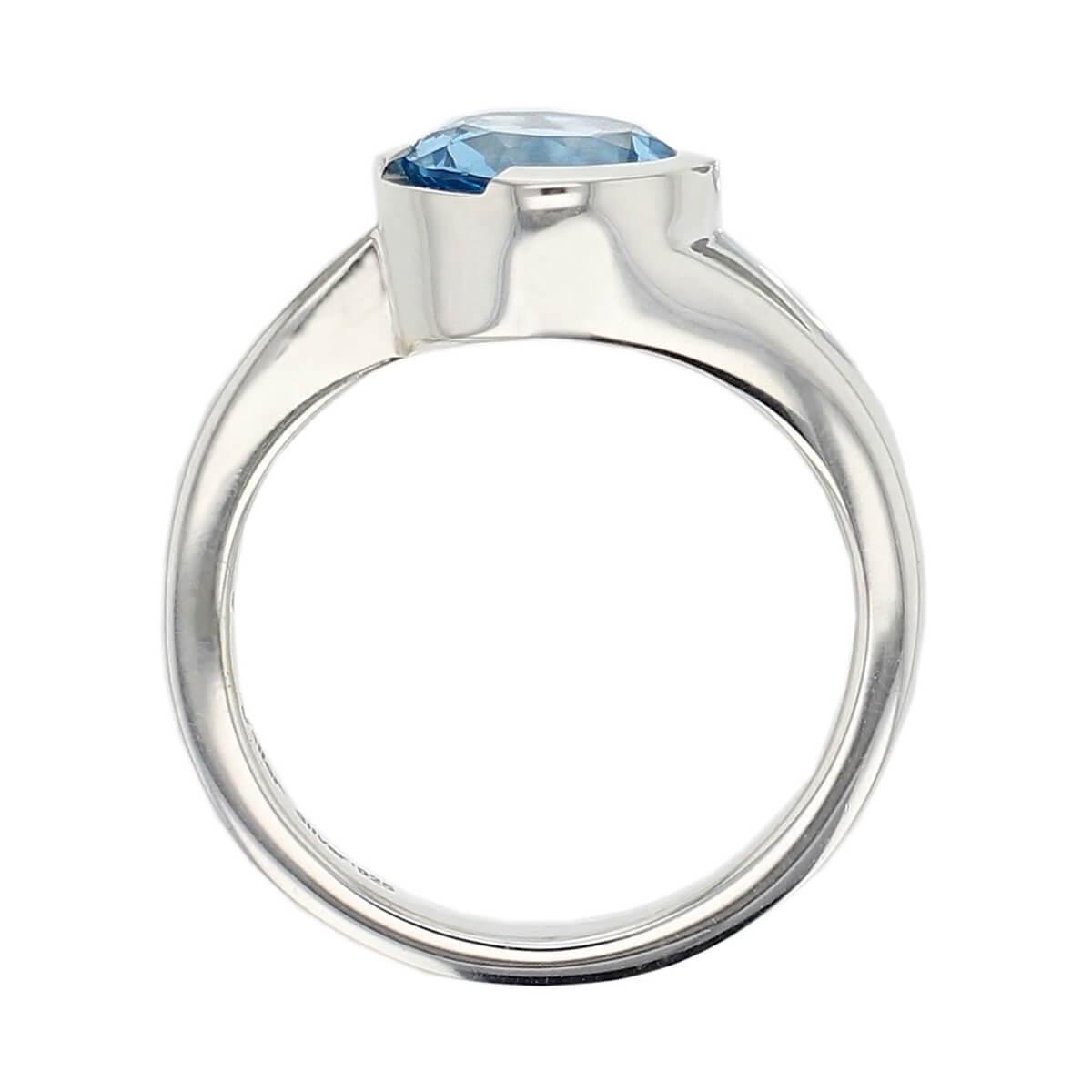 sterling silver blue round cut topaz gemstone dress ring, designer jewellery, gem, jewelry, handmade by Faller, Londonderry, Northern Ireland, Irish hand crafted, darcy, D'arcy
