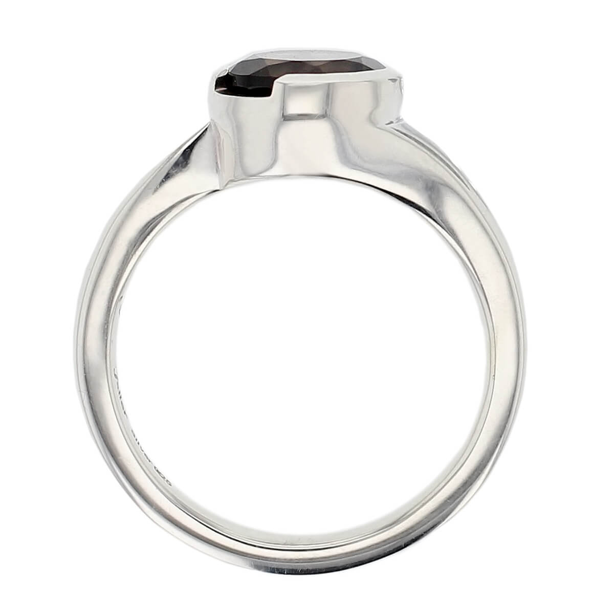 sterling silver round cut faceted smoky quartz gemstone dress ring, designer jewellery, smokey quartz gem, jewelry, handmade by Faller, Londonderry, Northern Ireland, Irish hand crafted, darcy, D'arcy