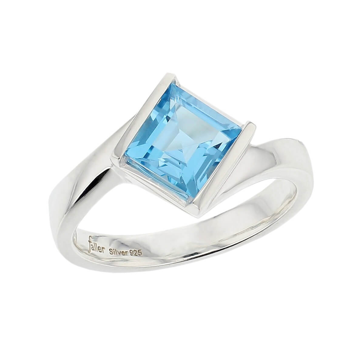 sterling silver blue square cut topaz gemstone dress ring, designer jewellery, gem, jewelry, handmade by Faller, Londonderry, Northern Ireland, Irish hand crafted, darcy, D'arcy