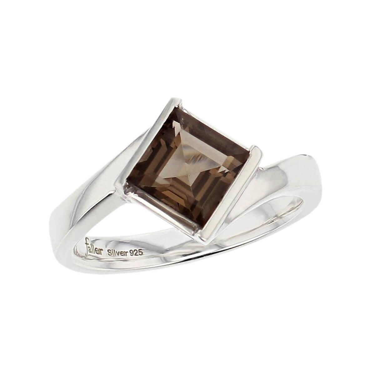 sterling silver square cut faceted smoky quartz gemstone dress ring, designer jewellery, smokey quartz gem, jewelry, handmade by Faller, Londonderry, Northern Ireland, Irish hand crafted, darcy, D'arcy