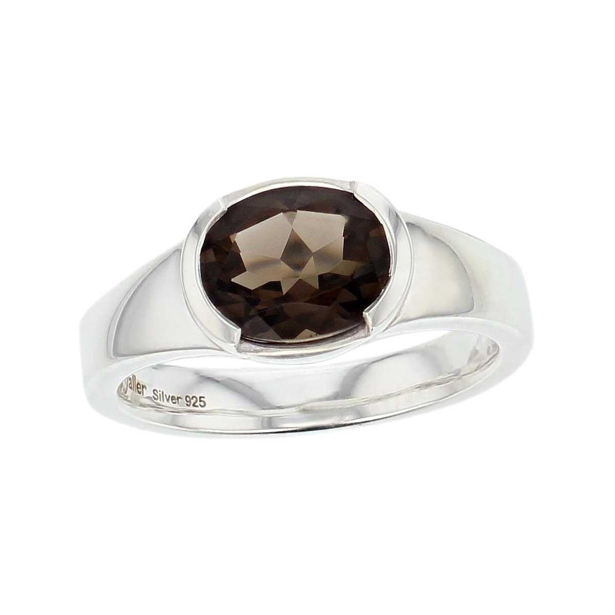 sterling silver oval cut faceted smoky quartz gemstone dress ring, designer jewellery, smokey quartz gem, jewelry, handmade by Faller, Londonderry, Northern Ireland, Irish hand crafted, darcy, D'arcy