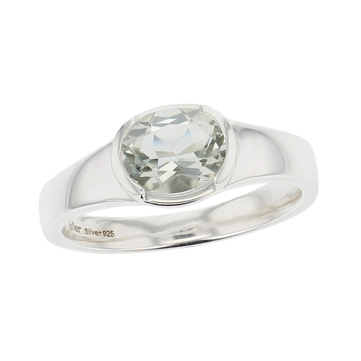 sterling silver oval cut faceted prasiolite gemstone dress ring, designer jewellery, green quartz gem, jewelry, handmade by Faller, Londonderry, Northern Ireland, Irish hand crafted, darcy, D'arcy