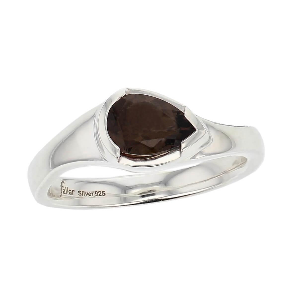 sterling silver pear cut faceted smoky quartz gemstone dress ring, designer jewellery, smokey quartz gem, jewelry, handmade by Faller, Londonderry, Northern Ireland, Irish hand crafted, darcy, D'arcy