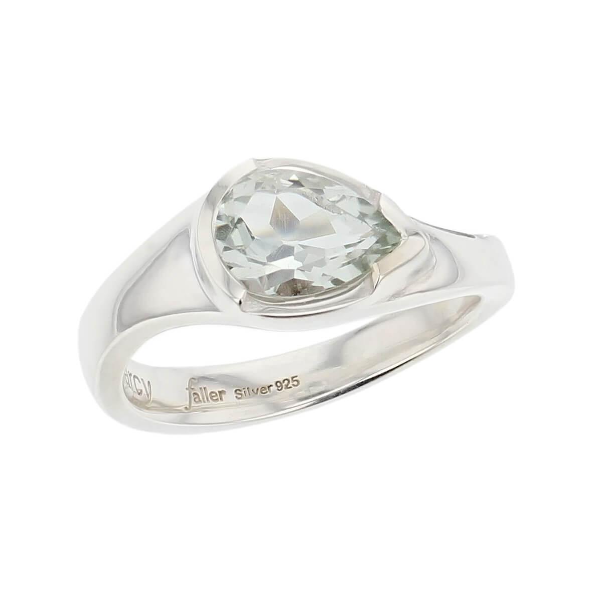 sterling silver pear cut faceted prasiolite gemstone dress ring, designer jewellery, green quartz gem, jewelry, handmade by Faller, Londonderry, Northern Ireland, Irish hand crafted, darcy, D'arcy