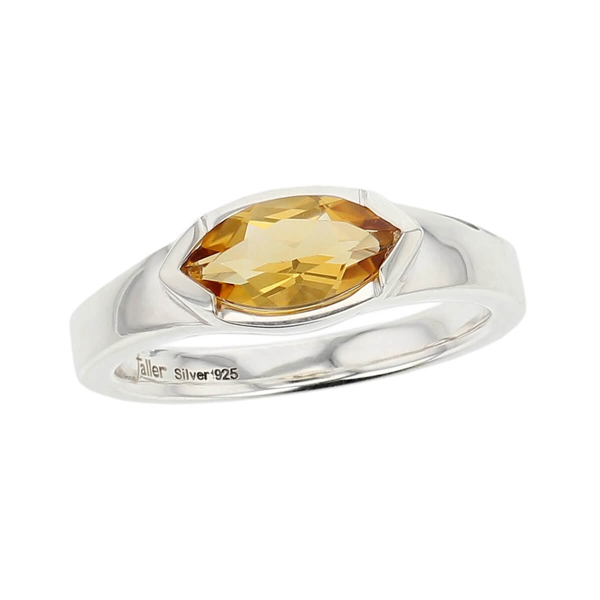 sterling silver yellow marquise cut citrine gemstone dress ring, designer jewellery, quartz gem, jewelry, handmade by Faller, Londonderry, Northern Ireland, Irish hand crafted, darcy, D'arcy, navette