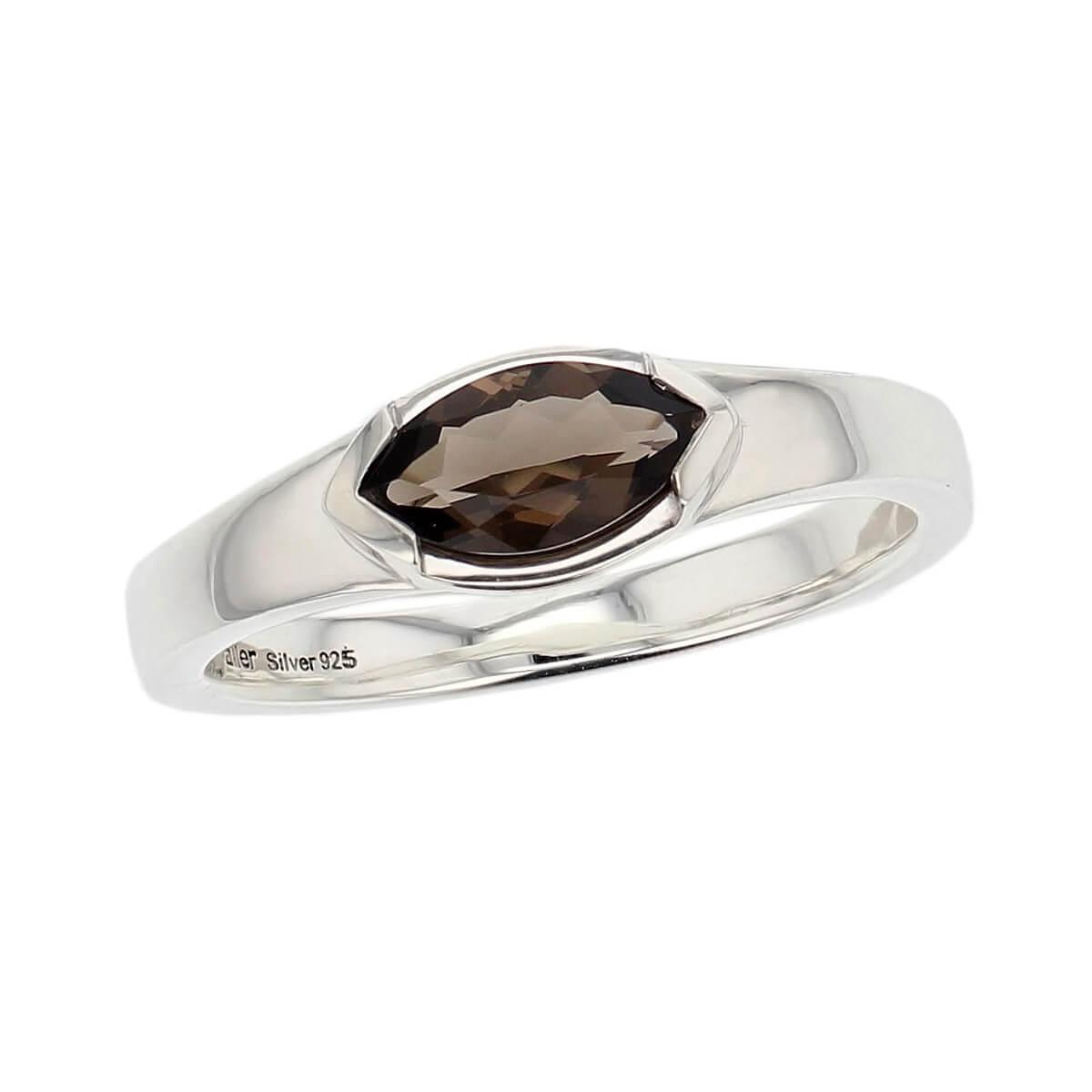 sterling silver marquise cut smoky quartz gemstone dress ring, designer jewellery, smokey quartz gem, jewelry, handmade by Faller, Londonderry, Northern Ireland, Irish hand crafted, darcy, D'arcy, navette