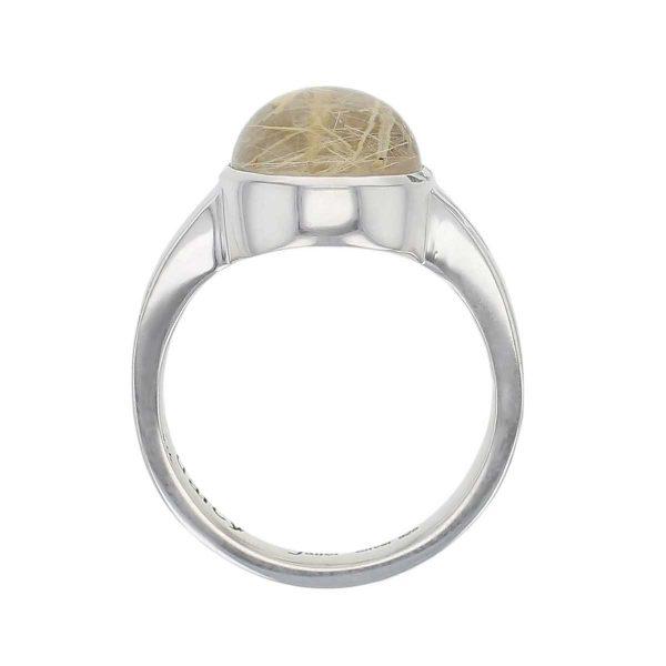 sterling silver round cut cabochon golden rutile quartz gemstone dress ring, designer jewellery, yellow rutilated quartz gem, jewelry, handmade by Faller, Londonderry, Northern Ireland, Irish hand crafted, darcy, D'arcy, split band