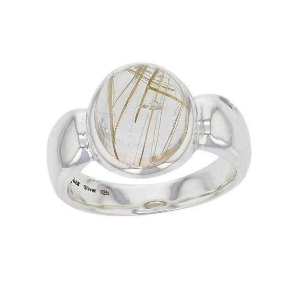 sterling silver round cut cabochon golden rutile quartz gemstone dress ring, designer jewellery, yellow rutilated quartz gem, jewelry, handmade by Faller, Londonderry, Northern Ireland, Irish hand crafted, darcy, D'arcy
