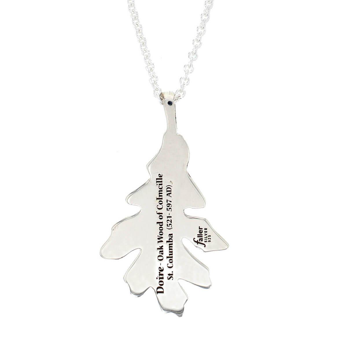 Faller Oakleaf, Derry, Londonderry, Northern Ireland, oak wood, acorn, angel, leaf, St Columba, St. Comcille, christian, heritage, historical, sterling silver pendant, engraving