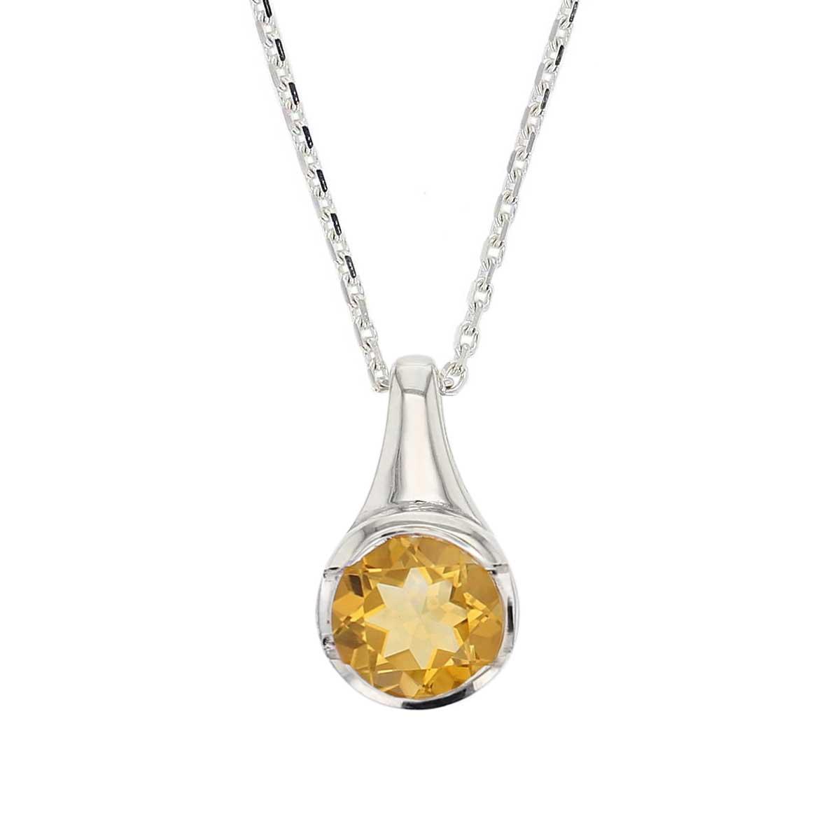sterling silver round cut faceted citrine gemstone pendant, designer jewellery, yellow quartz gem, jewelry, handmade by Faller, Londonderry, Northern Ireland, Irish hand crafted, darcy, D'arcy