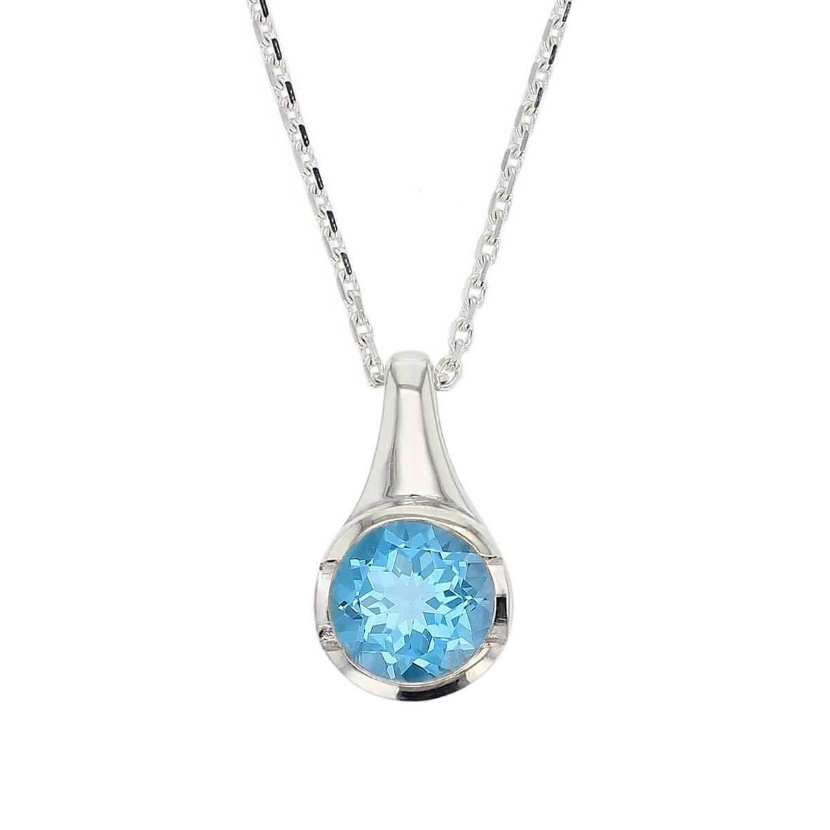 sterling silver round cut faceted topaz gemstone pendant, designer jewellery, blue quartz gem, jewelry, handmade by Faller, Londonderry, Northern Ireland, Irish hand crafted, darcy, D'arcy