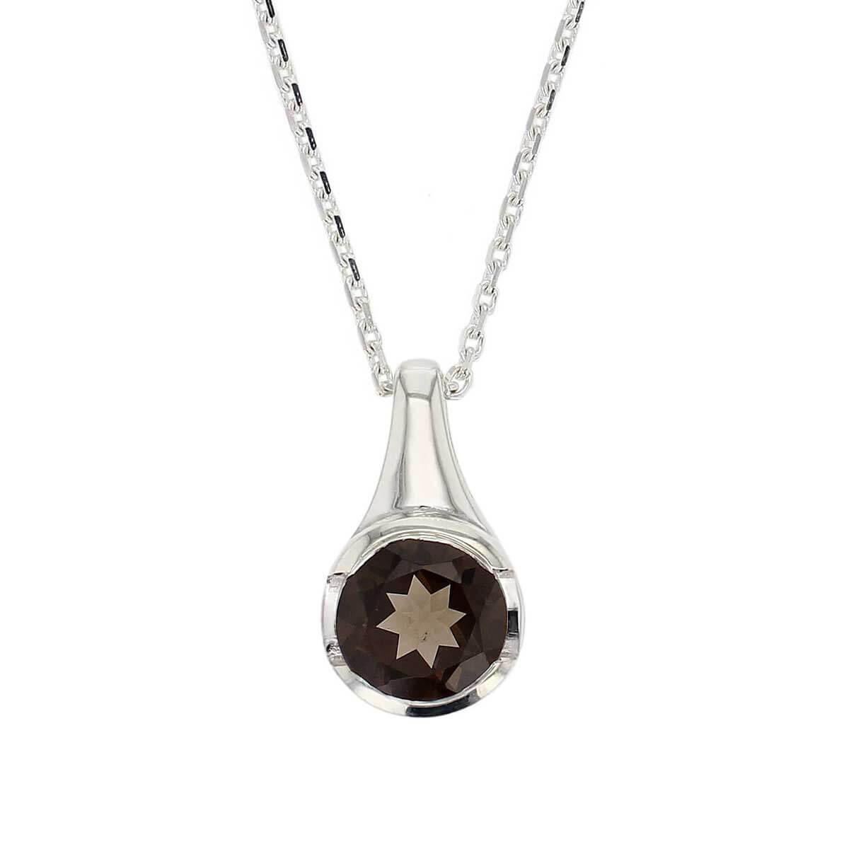 sterling silver round cut faceted smoky quartz gemstone pendant, designer jewellery, brown quartz gem, jewelry, handmade by Faller, Londonderry, Northern Ireland, Irish hand crafted, darcy, D'arcy, smokey