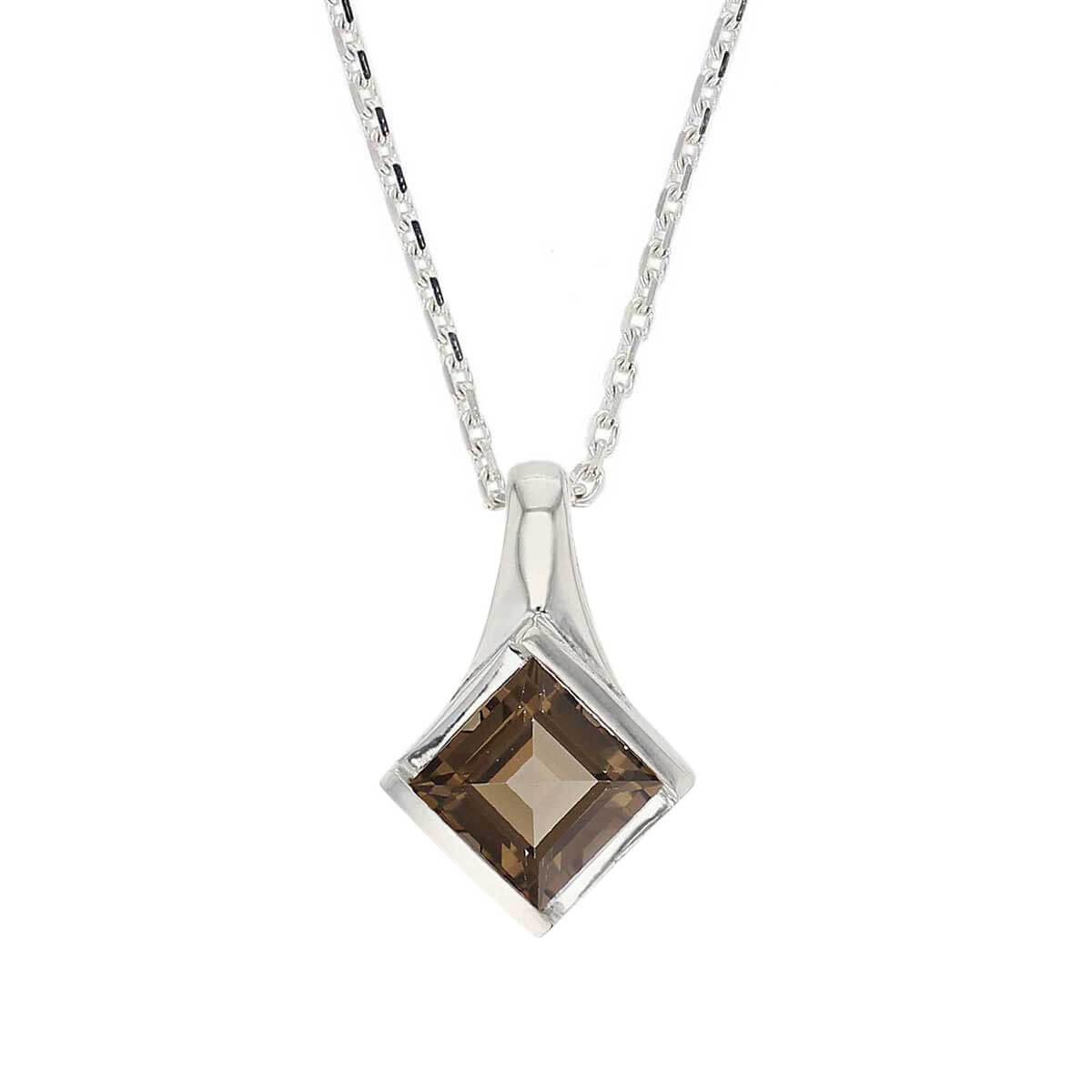 sterling silver princess cut faceted smoky quartz gemstone pendant, designer jewellery, square brown quartz gem, jewelry, handmade by Faller, Londonderry, Northern Ireland, Irish hand crafted, darcy, D'arcy, smokey