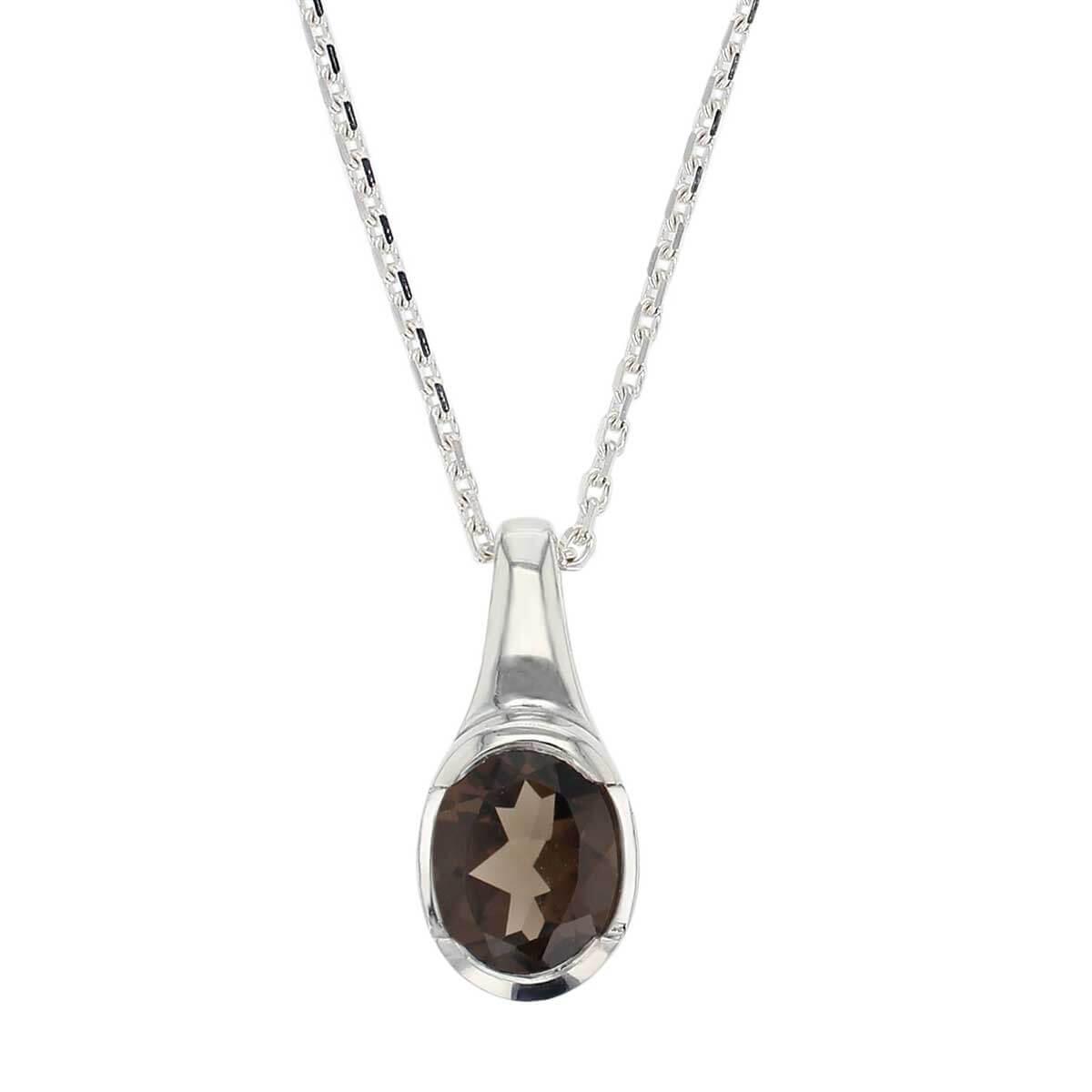 sterling silver oval cut faceted smoky quartz gemstone pendant, designer jewellery, brown quartz gem, jewelry, handmade by Faller, Londonderry, Northern Ireland, Irish hand crafted, darcy, D'arcy, smokey