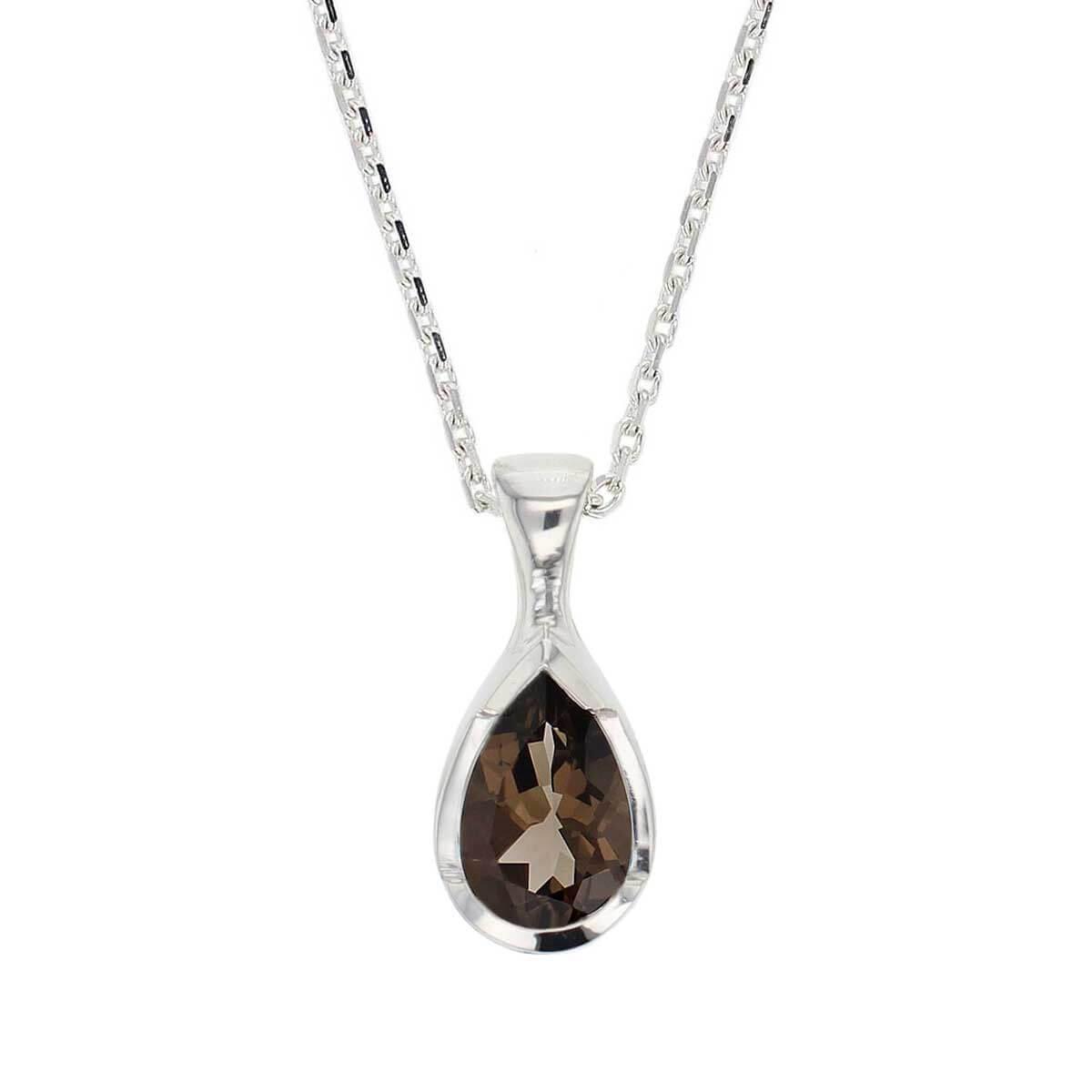 sterling silver pear cut faceted smoky quartz gemstone pendant, designer jewellery, brown quartz gem, jewelry, handmade by Faller, Londonderry, Northern Ireland, Irish hand crafted, darcy, D'arcy, smokey