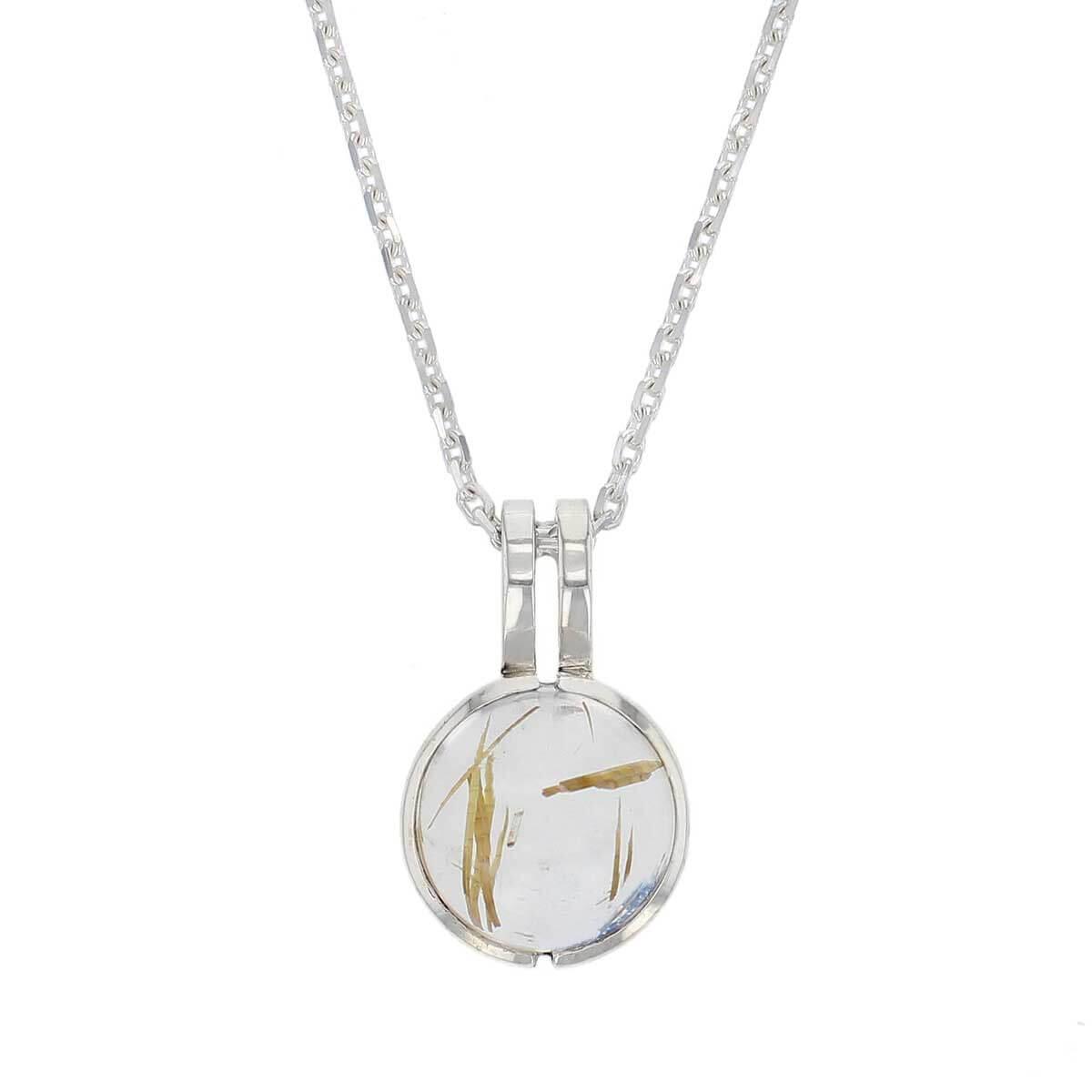sterling silver round cut cabochon golden rutile quartz gemstone dress pendant, designer jewellery, yellow rutilated quartz gem, jewelry, handmade by Faller, Londonderry, Northern Ireland, Irish hand crafted, darcy, D'arcy