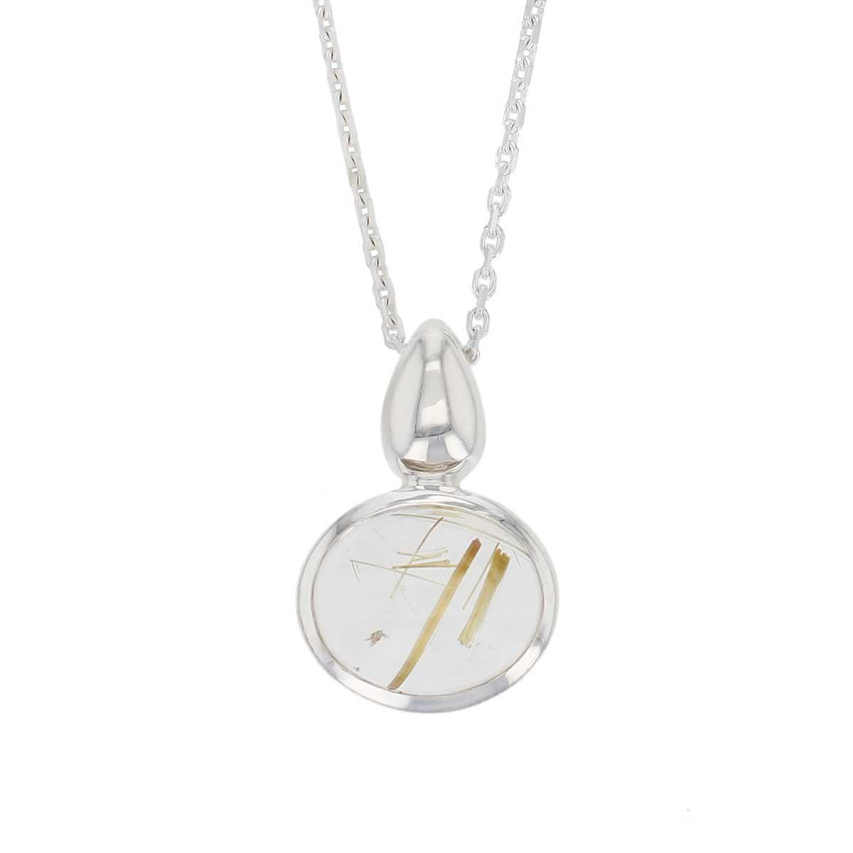 sterling silver oval cut cabochon golden rutile quartz gemstone dress pendant, designer jewellery, yellow rutilated quartz gem, jewelry, handmade by Faller, Londonderry, Northern Ireland, Irish hand crafted, darcy, D'arcy