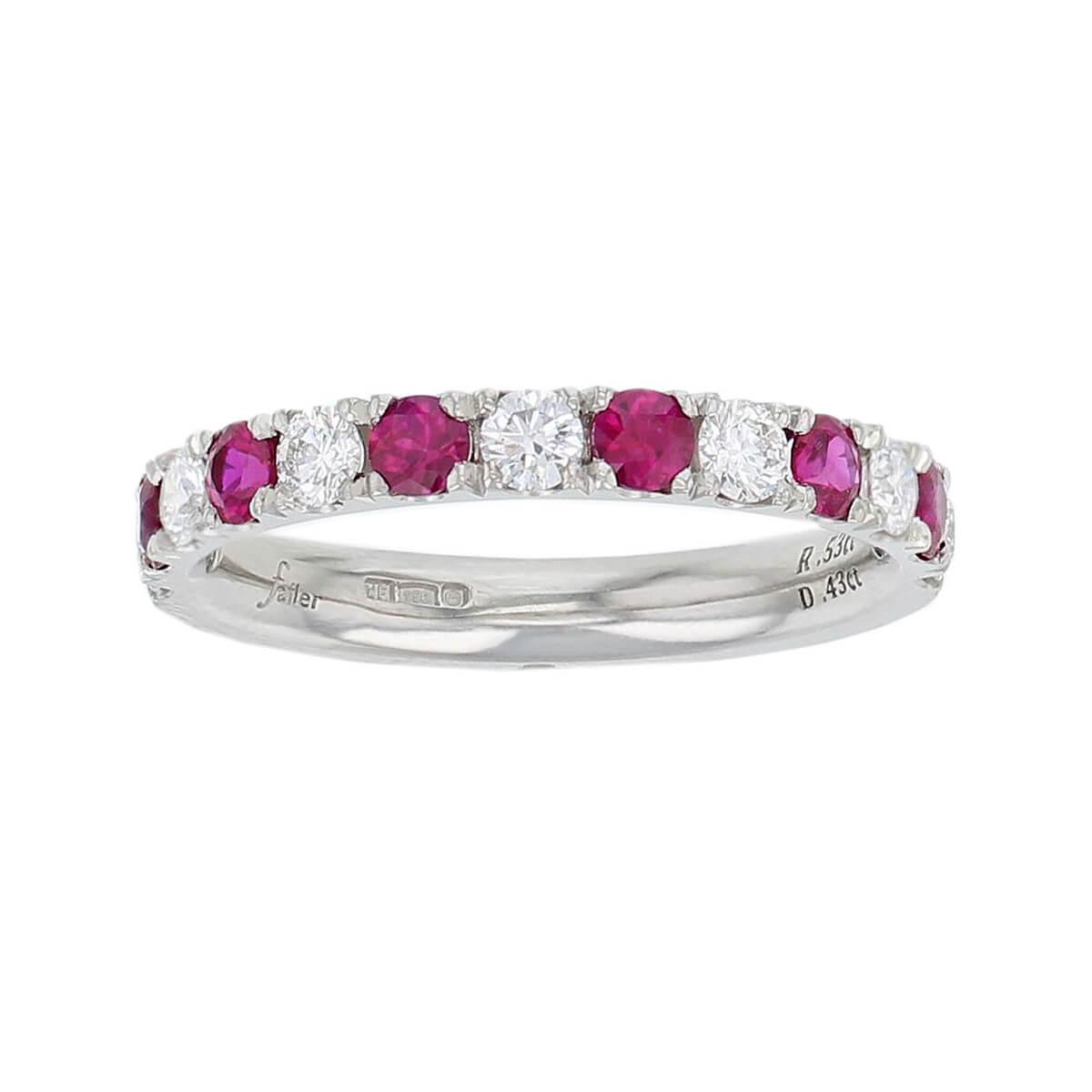 platinum round brilliant cut diamond & ruby eternity ring designer dress ring handmade by Faller, hand crafted, precious jewellery, jewelry, ladies , woman
