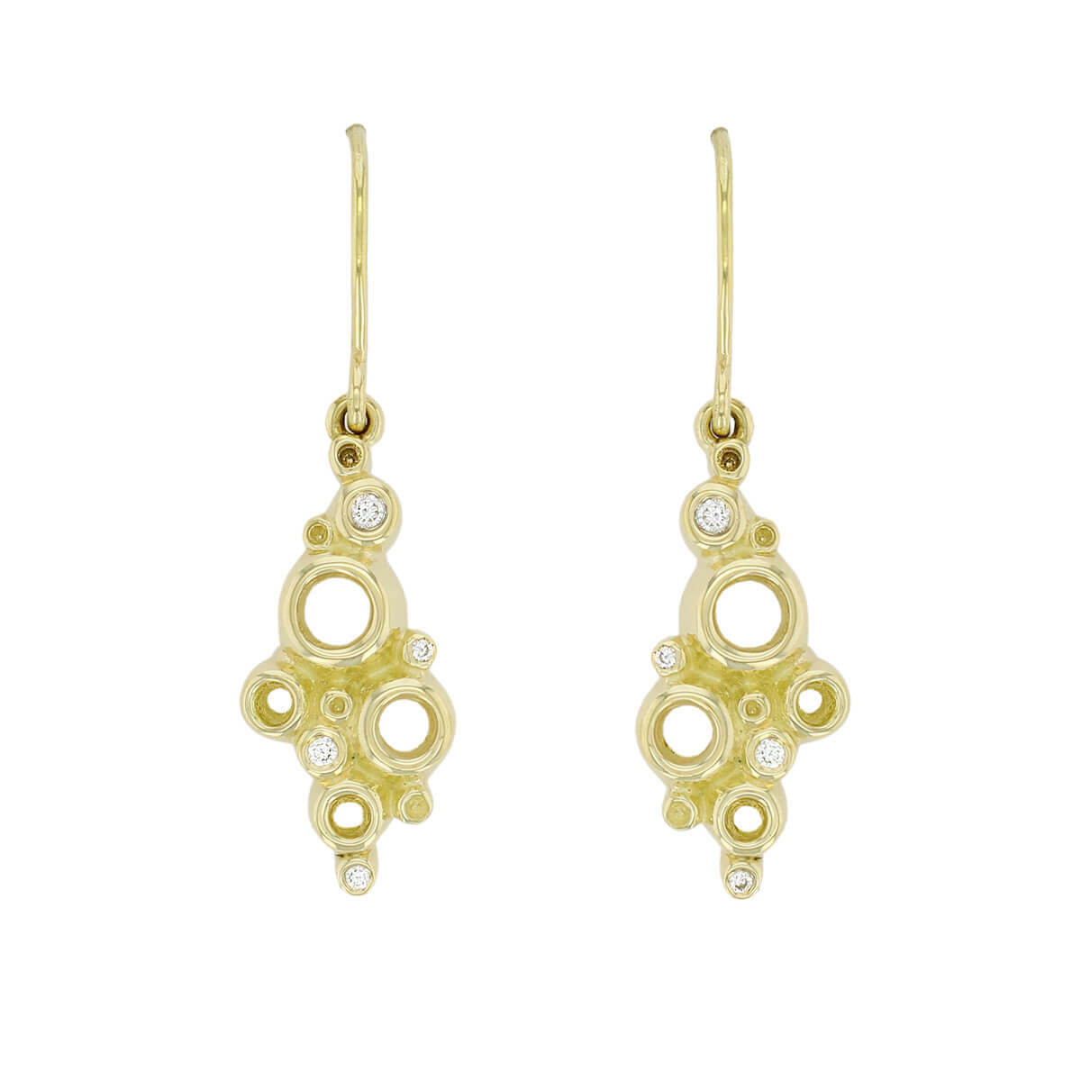 Faller Fizz 18ct yellow gold diamond drop earrings, designer jewellery, jewelry, handcafted
