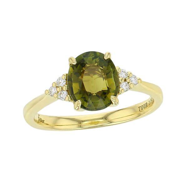 alternative engagement ring, 18ct yellow gold ladies oval cut green tourmaline & diamond designer multi stone engagement ring designed & hand crafted by Faller of Derry/ Londonderry, dress ring, precious gem jewellery, jewelry, shoulder set