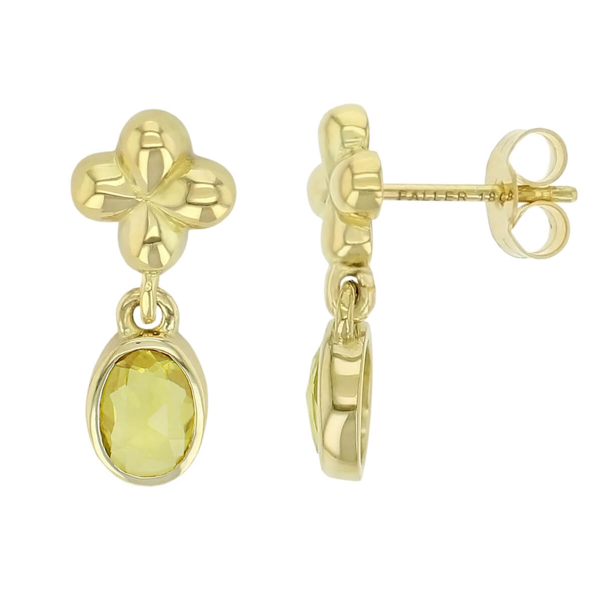 Kandy 18ct yellow gold yellow oval rose cut sapphire gemstone ladies petal cross link drop earrings, designer jewellery, gem, jewelry, handmade by Faller, Londonderry, Northern Ireland, Irish hand crafted