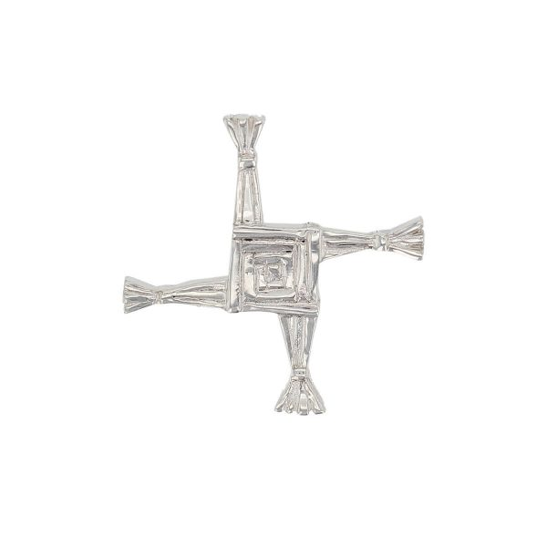 Faller sterling silver cross lapel pin, St. Brigid of Kildare, patron saint of Ireland, rush cross, Cros Bríde, Crosóg Bríde or Bogha Bríde, woven rushes, christian symbol, celtic, men's jewellery, jewelry