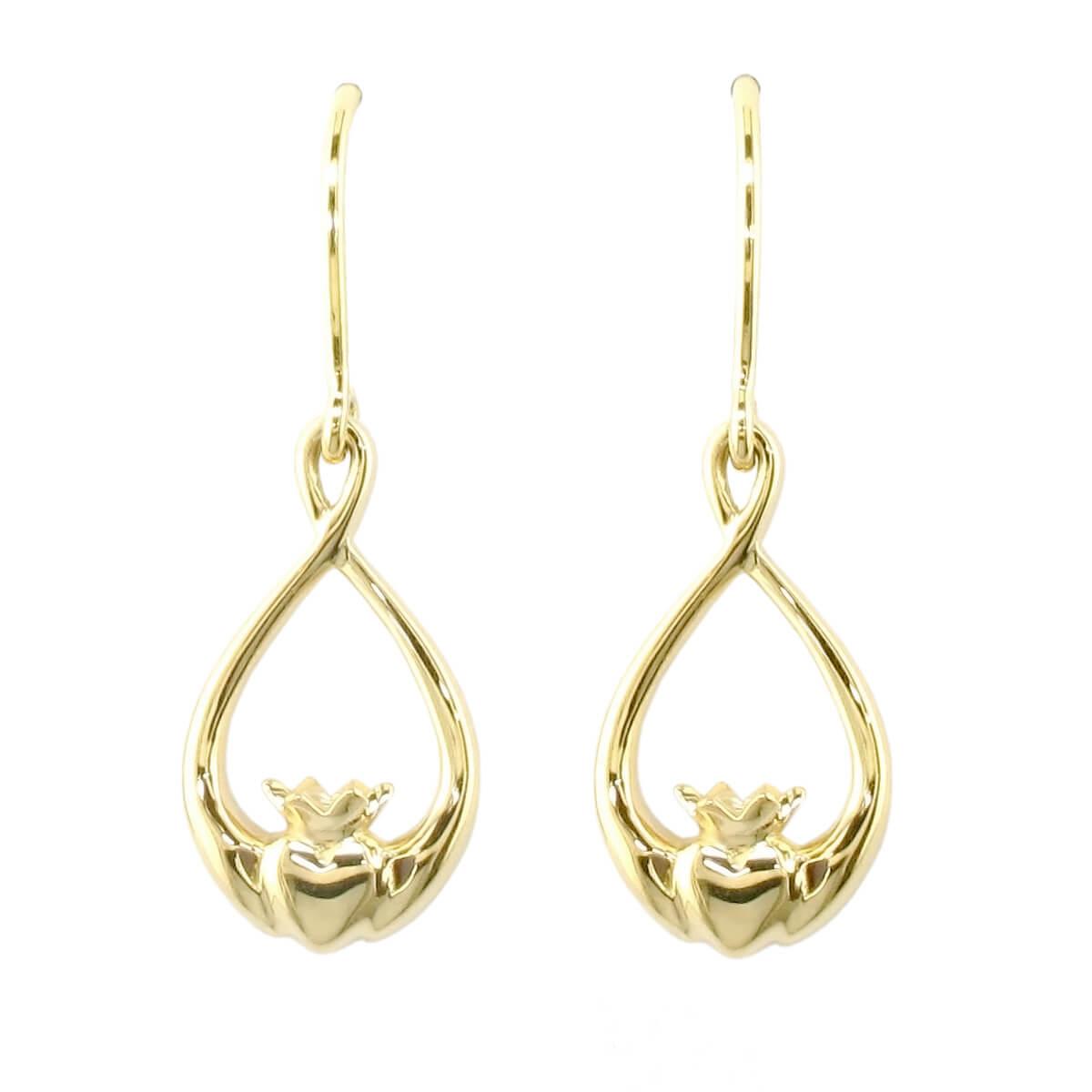 Faller Claddagh, 18ct yellow gold, Irish, love, loyalty & friendship, hands, heart & crown, drop earrings, ladies