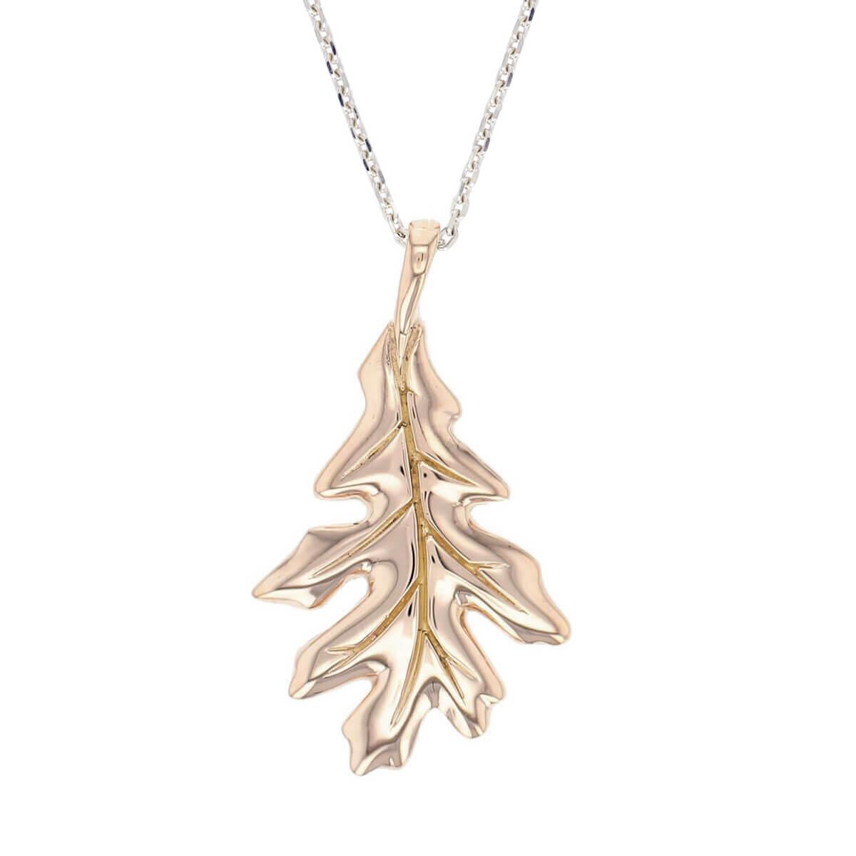 Faller Oakleaf, Derry, Londonderry, Northern Ireland, oak wood, acorn, angel, leaf, St Columba, St. Comcille, christian, heritage, historical, sterling silver & 18ct rose gold pendant