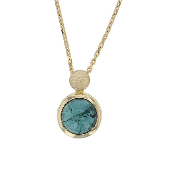 Kandy 18ct yellow gold blue green oval cut cabochon tourmaline gemstone pendant, designer jewellery, gem, jewelry, handmade by Faller, Londonderry, Northern Ireland, Irish hand crafted