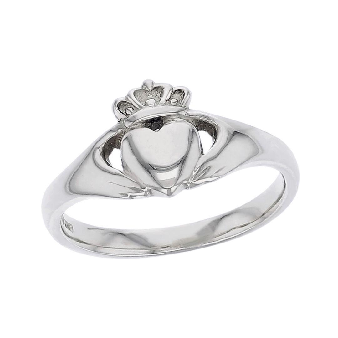Faller Claddagh, platinum, Irish, love, loyalty & friendship, hands, heart & crown, dress ring, ladies