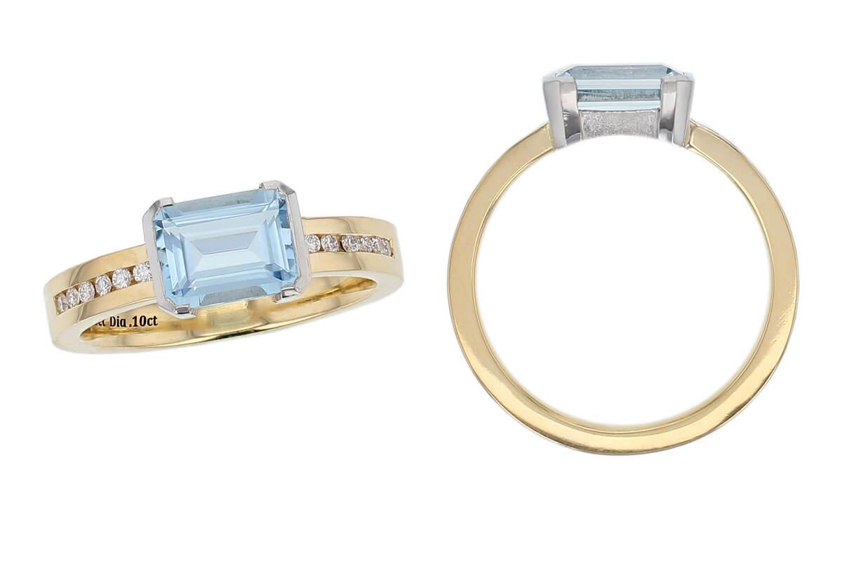 yellow gold, platinum, aquamarine & diamond solitaire ring, designer single stone dress ring, handmade by Faller, hand crafted, jewelry, ladies ring, bespoke jewellery