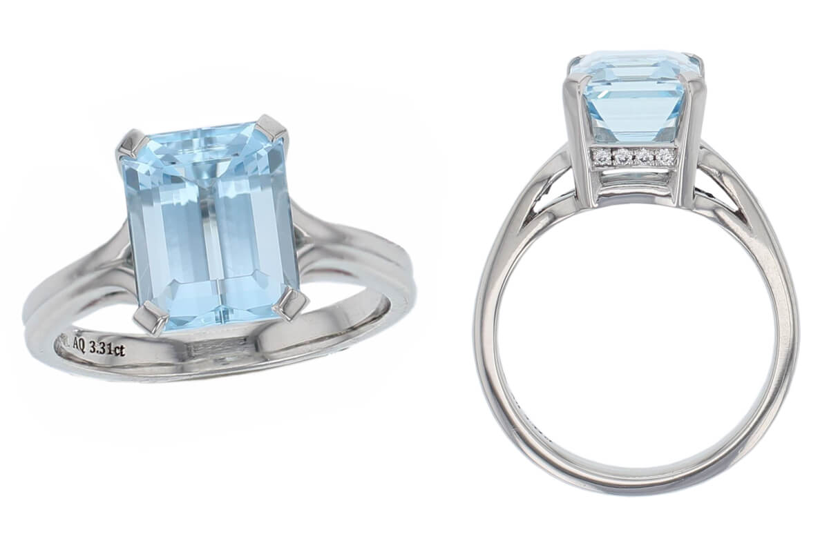 platinum, aquamarine solitaire ring, designer single stone dress ring, handmade by Faller, hand crafted, jewelry, ladies ring, bespoke jewellery