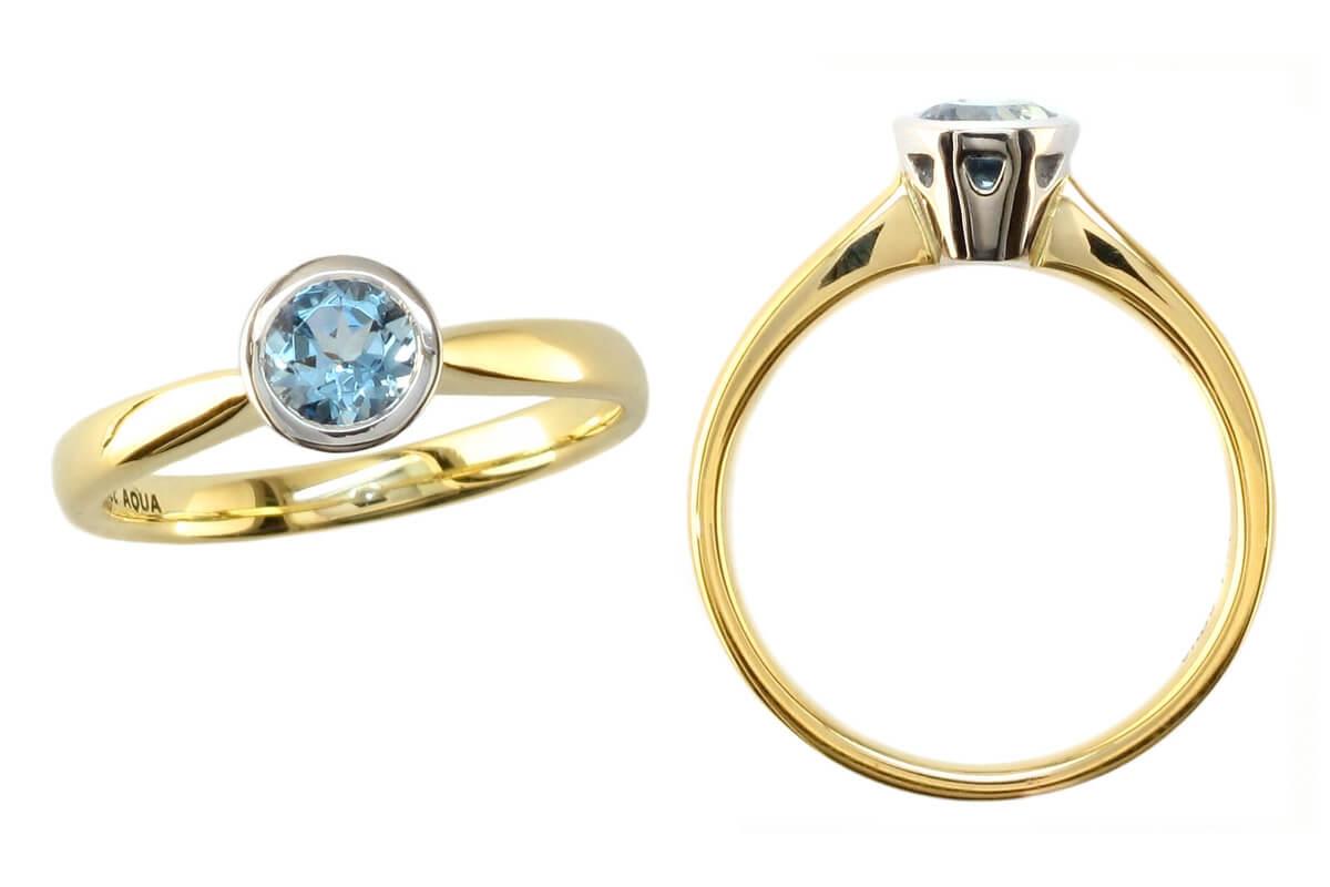 yellow gold, platinum, aquamarine solitaire ring, designer single stone dress ring, handmade by Faller, hand crafted, jewelry, ladies ring, bespoke jewellery