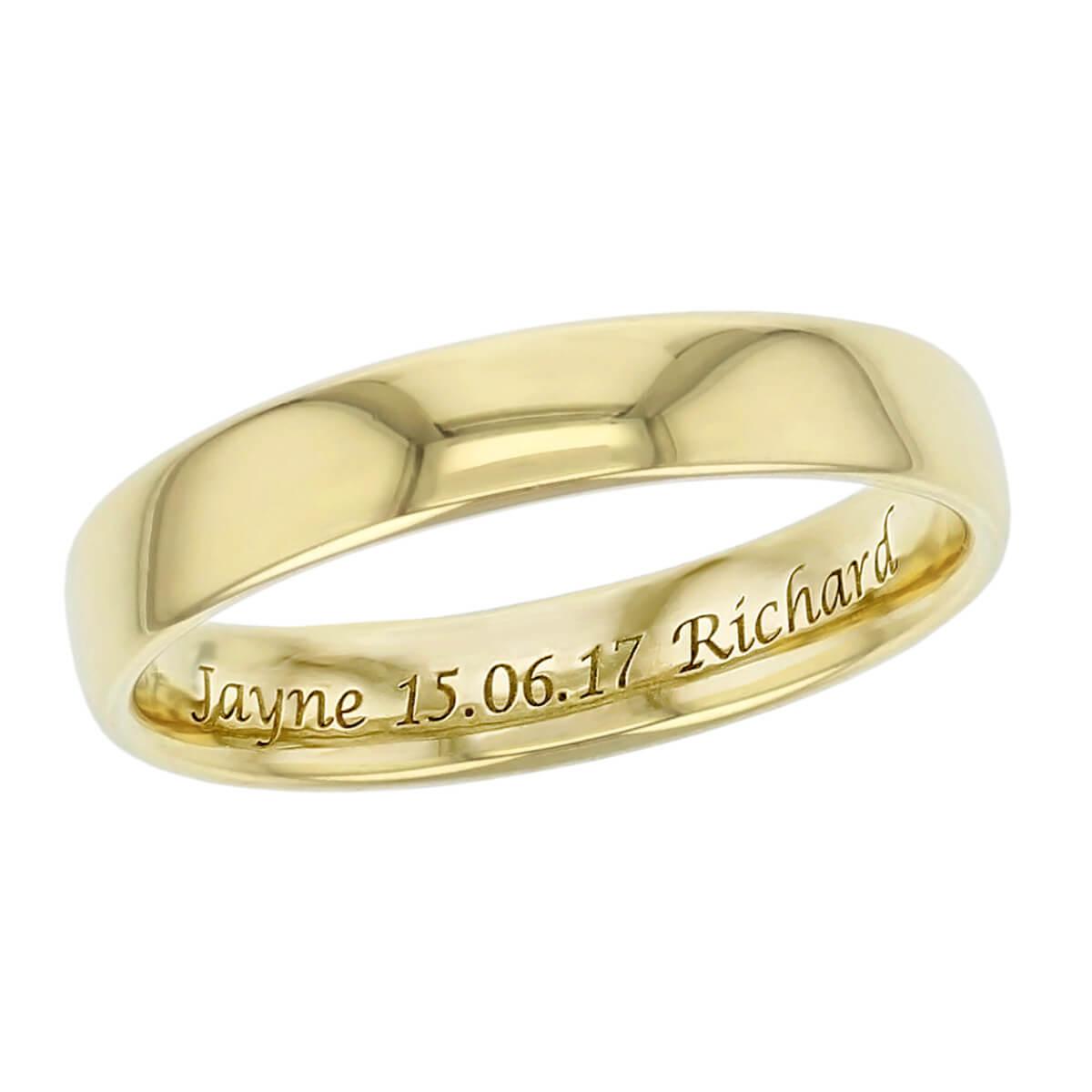 engraving sample, wedding rings by Faller, Derry Jeweller