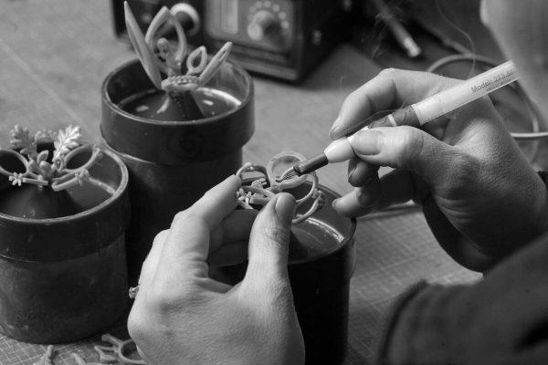 Faller goldsmiths at work, Faller the Jeweller, Derry/ Londonderry , Annemarie preparing waxes