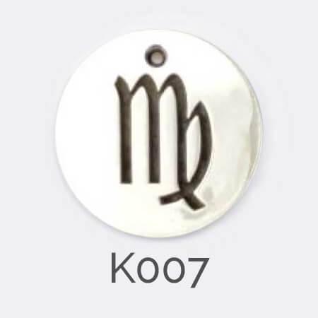 Faller Kryptos disc, sterling silver, message pendant, personalised engraving, make your own, jewellery, gift, celebration, zodiac pendant, Virgo pendant