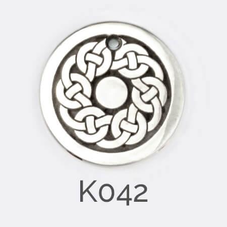 Faller Kryptos disc, silver, message pendant, personalised engraving, make your own, jewellery, gift, celebration, celtic braid Bodan cross pattern, celtic plait