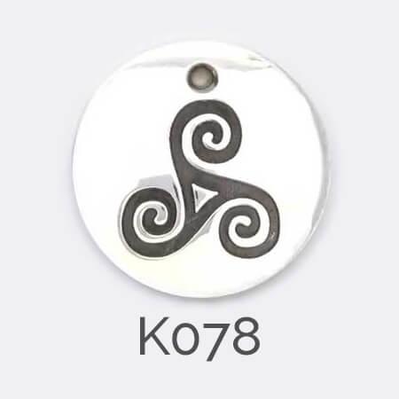 Faller Kryptos disc, celtic symbol, triskele, triskelion, triad, silver, message pendant, personalised engraving, make your own, jewellery, gift, celebration,