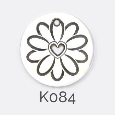 disc, sterling silver pendant, heart, flower, personalised jewellery