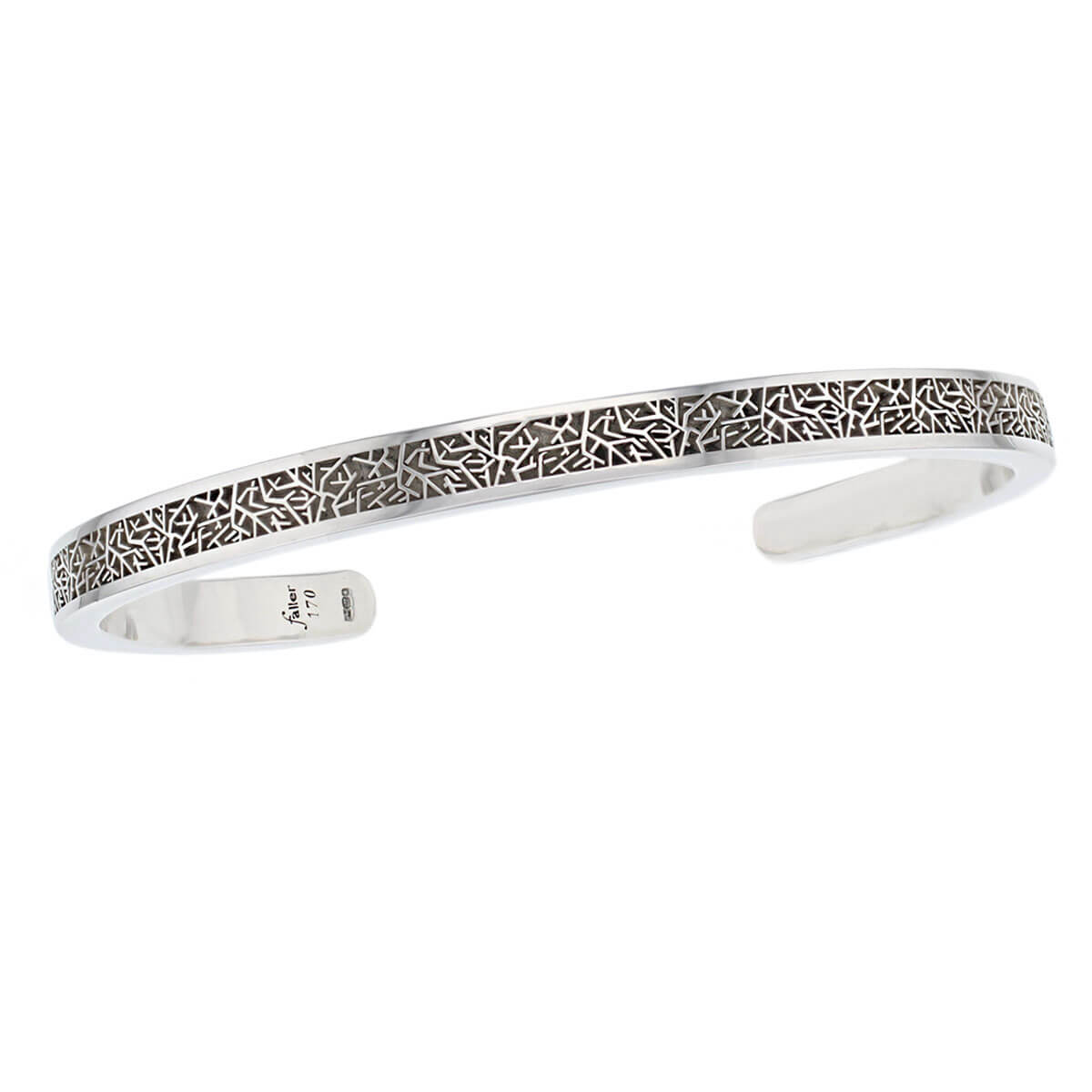 Faller solid sterling silver torc bangle, torque, torq, men's jewellery,twig pattern, wrist wear, personalised engraving, handmade, designer