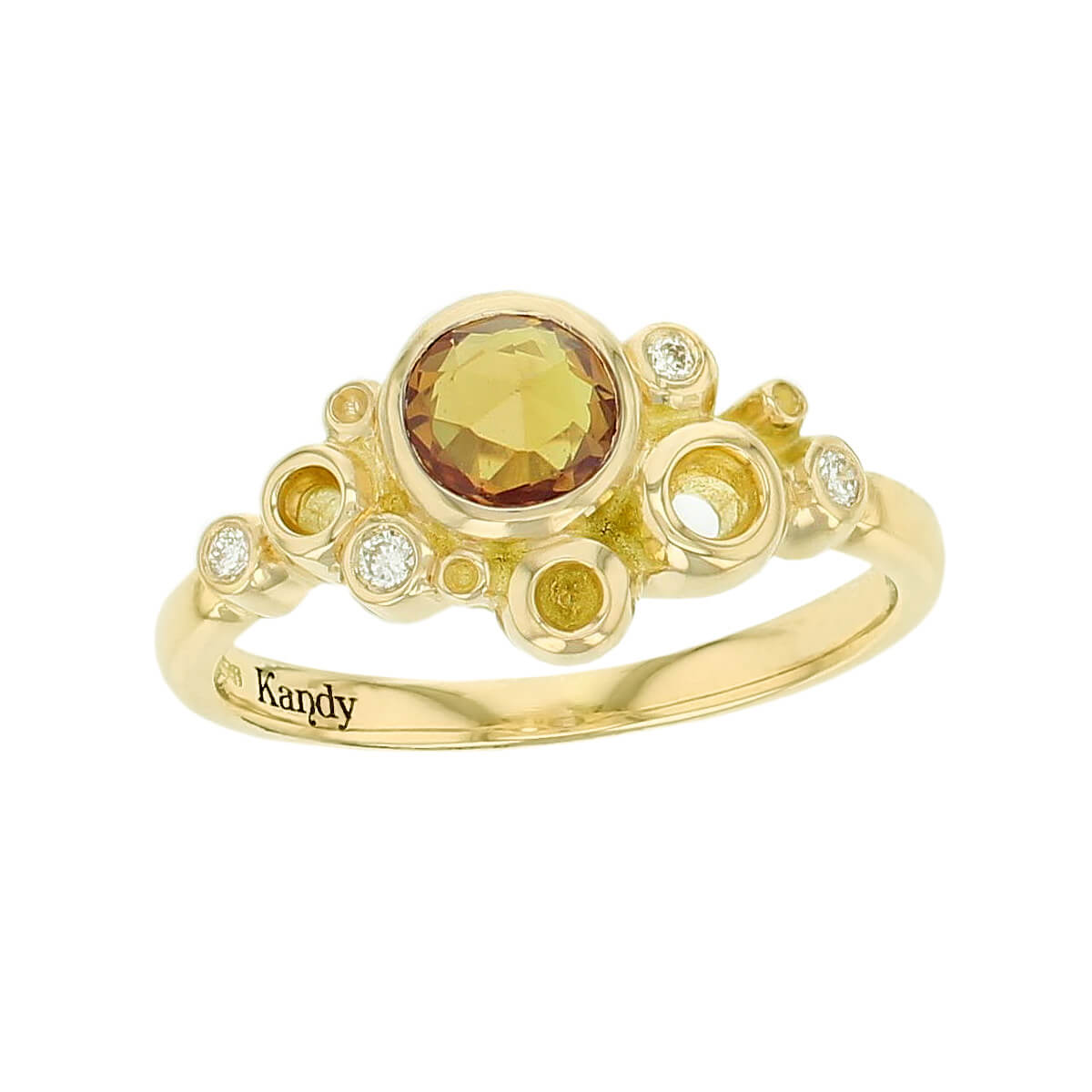 Kandy Fizz 18ct yellow gold yellow round rose cut sapphire gemstone ladies dress ring, designer jewellery, gem, jewelry, handmade by Faller, Londonderry, Northern Ireland, Irish hand crafted