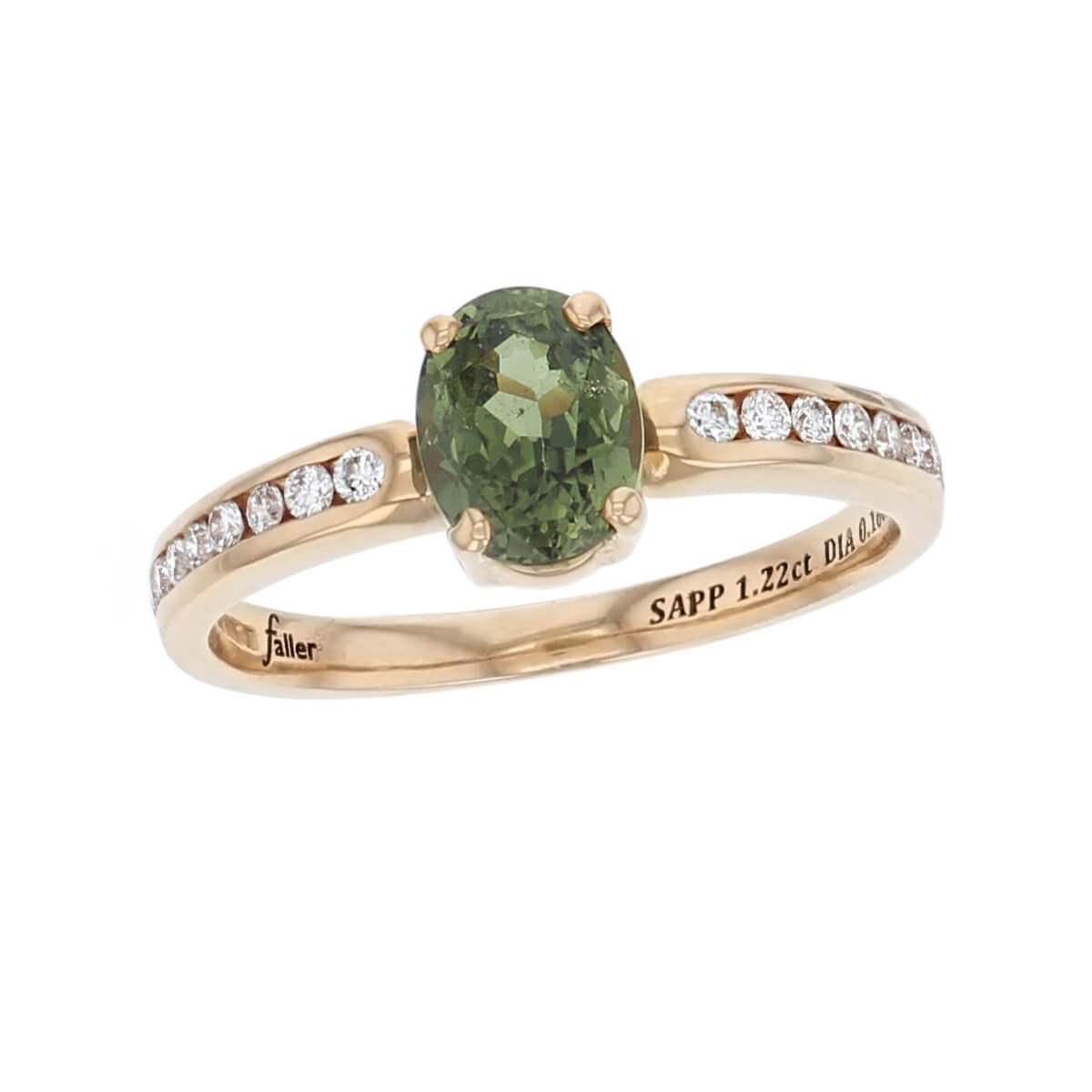 bea08e880 18ct rose gold ladies oval cut green tourmaline & diamond designer multi  stone dress ring designed