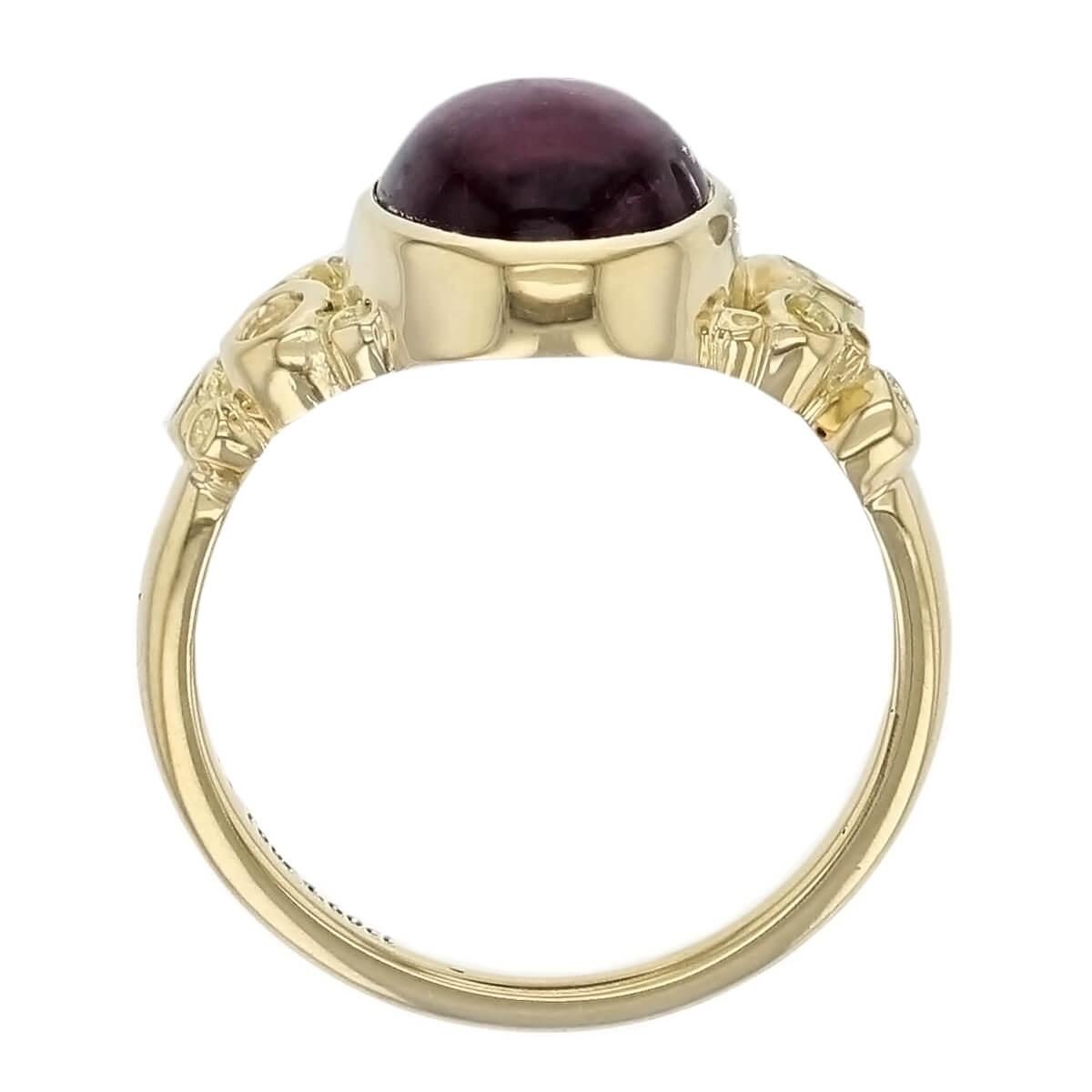 Kandy Fizz 18ct yellow gold pink oval cut cabochon tourmaline gemstone ladies dress ring, designer jewellery, gem, jewelry, handmade by Faller, Londonderry, Northern Ireland, Irish hand crafted
