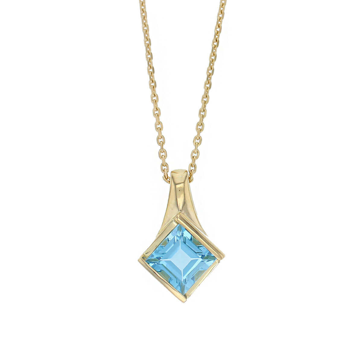 18ct yellow gold princess cut faceted topaz gemstone pendant, designer jewellery, blue quartz gem, jewelry, handmade by Faller, Londonderry, Northern Ireland, Irish hand crafted, darcy, D'arcy, square