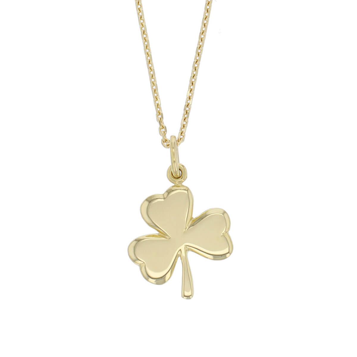 18ct yellow gold shamrock pendant, symbol of St. Patrick, holy trinity, Ireland, faith, hope, love, charm, designer handmade by Faller, Derry/ Londonderry, Irish hand crafted, clove