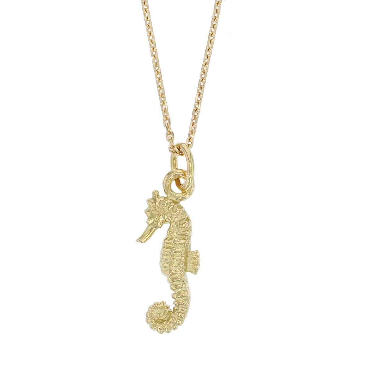 18ct yellow gold seahorse pendant, charm, Brian Boru's harp, Trinity college, Dublin medieval, Gaelic, Irish charm, Ireland, designer handmade by Faller, hand crafted sea creature