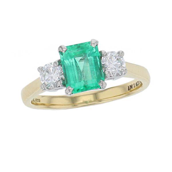 alternative engagement ring, 18ct yellow gold, platinum round brilliant cut diamond & octagon cut emerald trilogy ring designer three stone dress ring handmade by Faller, hand crafted, precious jewellery, jewelry, ladies , woman